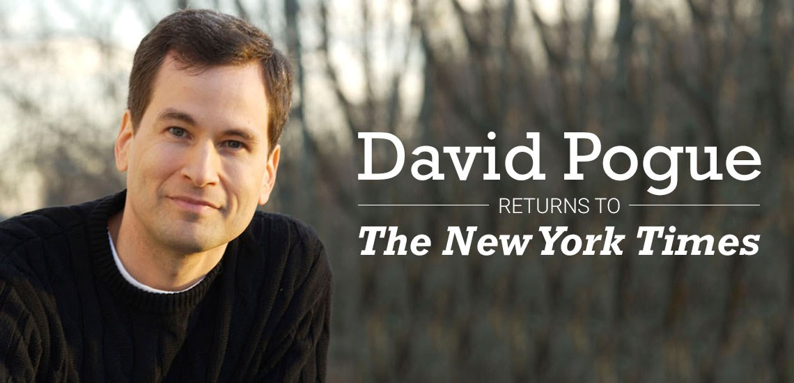 "David Pogue Returns to ""New York Times"" with New Column"